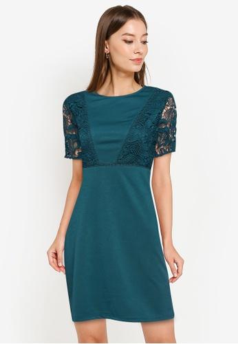 ZALORA WORK green Contrast Lace Sheath Dress C9602AAD37FCF9GS_1