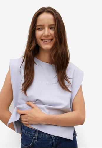 Mango purple Message Organic Cotton T-Shirt 51E90AA26405DCGS_1