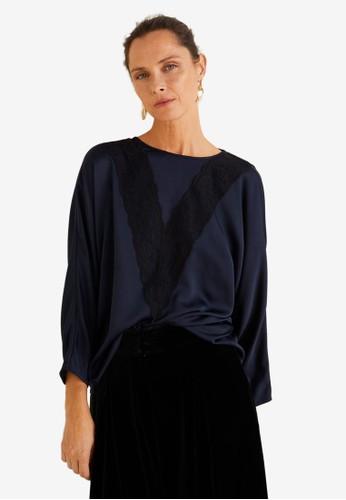 MANGO blue Lace Panel Blouse 4679FAA21285B8GS_1
