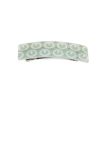 Glamorousky white Fashion Simple Circle Pattern Green Geometric Hair Slide with Imitation Pearl and Cubic Zirconia 97743ACF3F4478GS_1