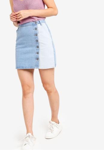 Something Borrowed blue Colorblock Mini Skirt 4710CAA89F21B5GS_1