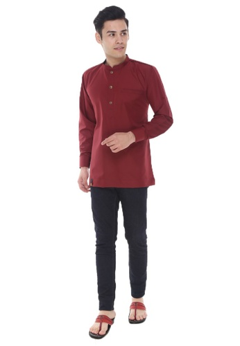 Amar Amran red and purple Kurta Al Hazim 85E27AA73EA212GS_1