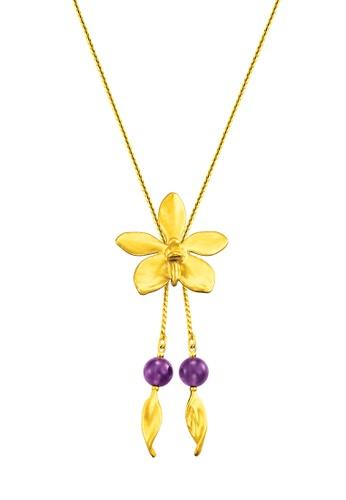 RISIS gold RISIS 24K Gold Plated Natural Aeridovanda Vieng Ping Orchid Slider /w Amethyst E9339AC5881A56GS_1