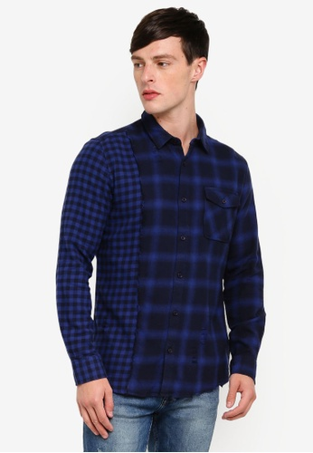 Only & Sons 藍色 格紋襯衫 ECDD9AAEC30AC2GS_1