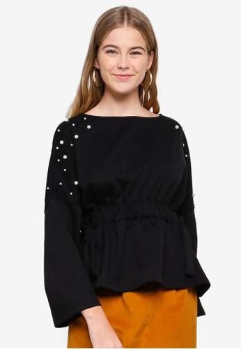 ESPRIT black Trumpet Sleeve Sweatshirt 1B754AA4B8DDFFGS_1