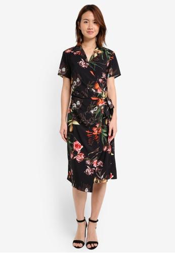 ZALORA black Studio Short Sleeve Wrap Dress B4438AA85D4E6CGS_1