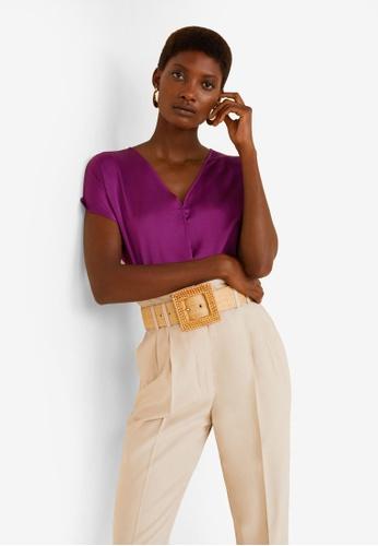 Mango purple Satin Panel T-Shirt DBDB6AAA4D6141GS_1