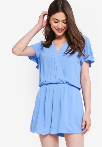 Something Borrowed blue Ruffled Sleeves Wrap Romper C0111AAE35DC0EGS_1