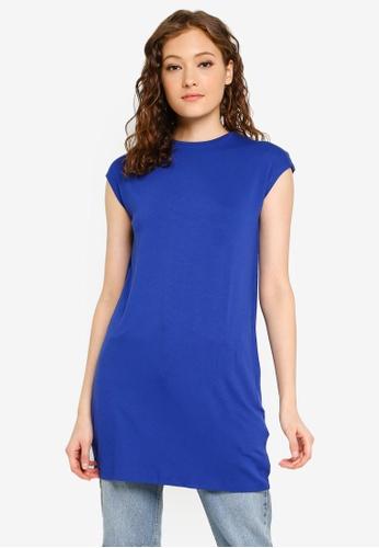 LC Waikiki 藍色 基本無袖Long T-襯衫 3633EAAFE825B3GS_1