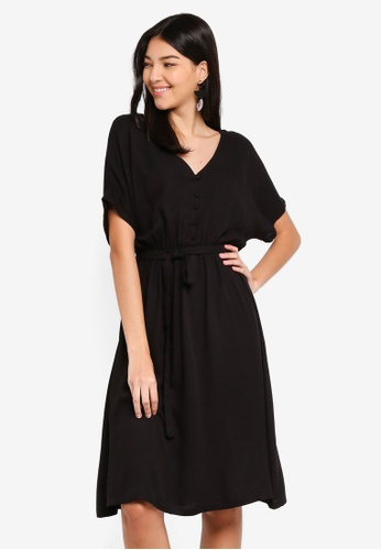 ZALORA black Button Detail Fit And Flare Dress DA818AAB58E592GS_1