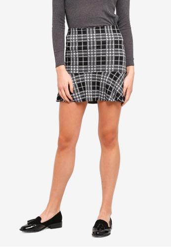 OVS black High-Waisted Check Skirt 1387FAA57B8DF2GS_1