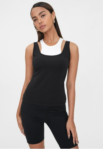 Pomelo black Sustainable Double Layered Tank Top - Black/White 8FA31AA416BEE2GS_1