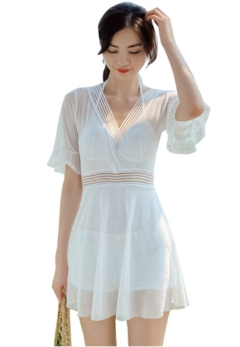 A-IN GIRLS white Sexy Gauze Big Backless One-Piece Swimsuit D82C9US45D15E3GS_1