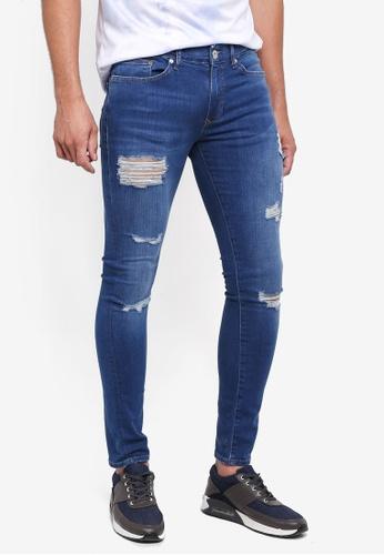 River Island blue Super Skinny Ripped Jeans C59BBAAC6C1A3BGS_1