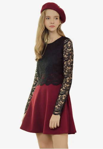 Eyescream red Lace Bodice Dress 4BF23AA9CC02D8GS_1
