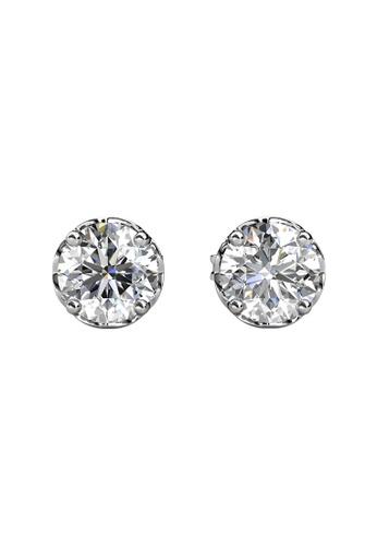 Her Jewellery silver CELÈSTA Moissanite Diamond  - Le Fleur Earrings (925 Silver with 18K White Gold Plating) by Her Jewellery FDBF6AC6D40678GS_1