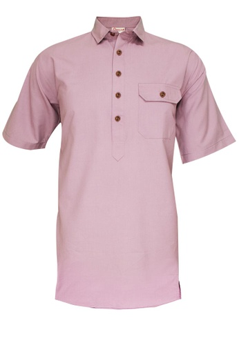 SULTAN pink SULTAN KURTA LELAKI / MEN'S- PRESIDENT - SHIRT COLLAR HALF SLEEVES 4D6A3AA757E5BDGS_1