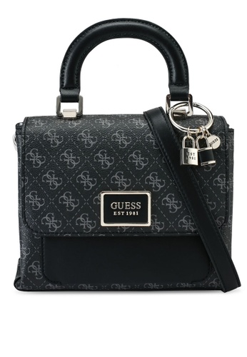 Guess black and grey Tyren Top Handle Flap Bag 5AB98AC1CEBCD3GS_1