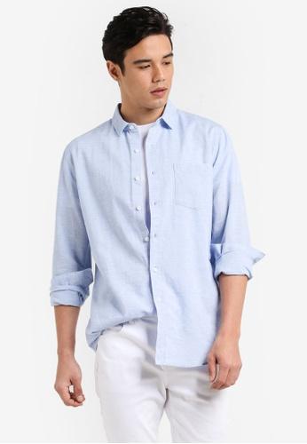 Topman blue Light Blue Textured Casual Shirt TO413AA02EMJMY_1