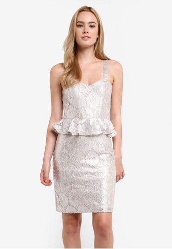 Miss Selfridge silver Metallic Lace Peplum Dress MI665AA0RF1QMY_1
