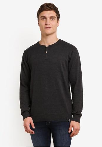 Indicode Jeans black and grey Taylor Grandad Sweatshirt IN815AA0ROLVMY_1