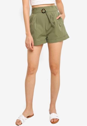 ZALORA BASICS green Paperbag Shorts 9F103AA2A2982EGS_1