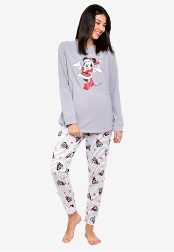 OVS grey Grey White Pyjama Set With Minnie Print 542FAAAA23C477GS_1