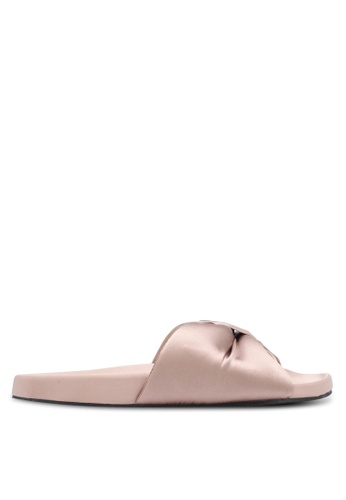 TOPSHOP beige Bow Sliders TO412SH0SD6DMY_1