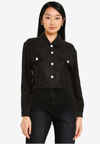 ZALORA BASICS black Crop Textured Jacket 75ADBAAE364325GS_1