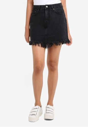 Supre black Chrissy Fray Edge Denim Skirt D6819AA25E1C54GS_1