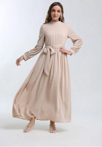 KASHKHA beige Embellished maxi dress 437BDAAEF1CA1AGS_1