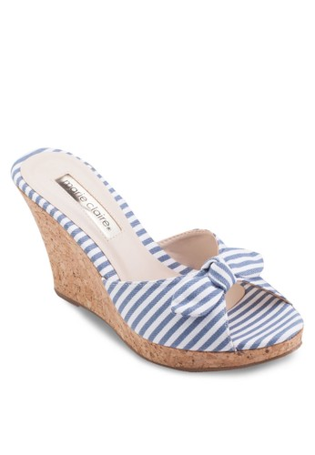 蝴蝶結楔型厚底涼鞋, 女鞋,esprit 衣服 楔形涼鞋