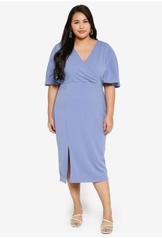 ffc96729 LOST INK PLUS blue Plus Size Wrap Dress 1E1BDAAD65188CGS_1