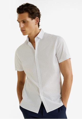 MANGO Man 白色 Regular Fit Printed Cotton Shirt B0898AA543C127GS_1