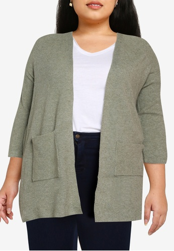 Only CARMAKOMA green Plus Size Atija Long Sleeves Knit Cardigan AB0F7AA3A9C1C5GS_1