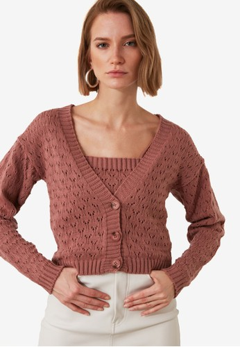 Trendyol pink Open Knit Cami and Cardigan Set 8A3ECAA9BEA9D8GS_1