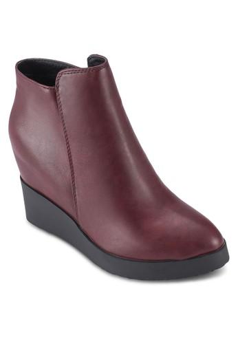 側拉鍊隱esprit官網藏式楔型跟短靴, 女鞋, 鞋