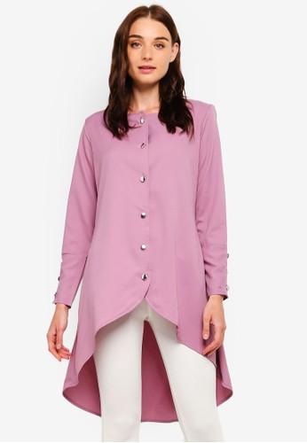 BYN purple Button Up Puffed Long Sleeve Top AE78DAA6C71FBCGS_1