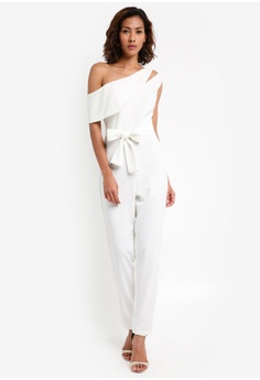 71c6496754c Lavish Alice white One Shoulder Asymmetric Jumpsuit with Tie Belt  9F8E6AABA04F94GS 1