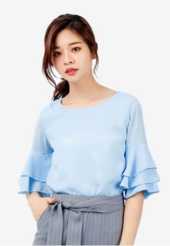 Kodz blue Ruffled Sleeved Blouse 35703AAD4C2365GS_1