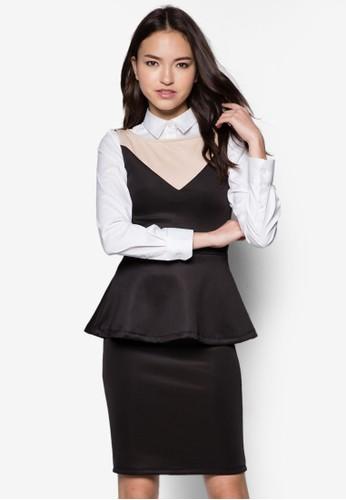 Leahzalora 台灣門市 撞色荷葉腰飾連身裙, 服飾, 洋裝