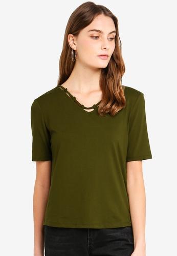 ESPRIT 米褐色 短袖T恤 E5431AA7991DD8GS_1