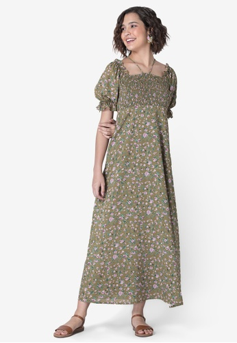 FabAlley green Green Pink Floral Smocked Maxi Dress 121AFAAB1E77DBGS_1
