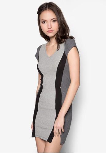 色塊羅紋緊身連身裙, zalora 內衣服飾, 洋裝