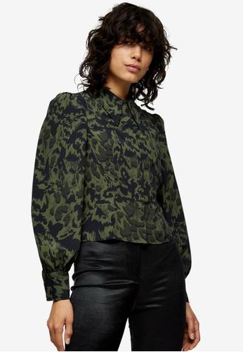 TOPSHOP green Khaki Animal Print Slim Seamed Shirt 11EDDAADFB8FA1GS_1
