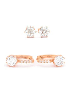 Jewel 18k plated Cubic Zircon Duo Earrings