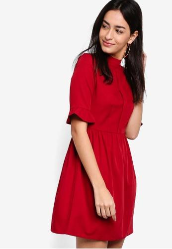 ZALORA red Pleat Detail Pencil Dress 8463FAA302CA66GS_1