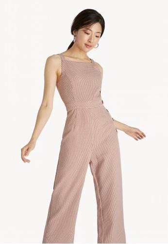 5a6e10989d Buy Pomelo Gingham Buttoned Jumpsuit - Brown Online on ZALORA Singapore