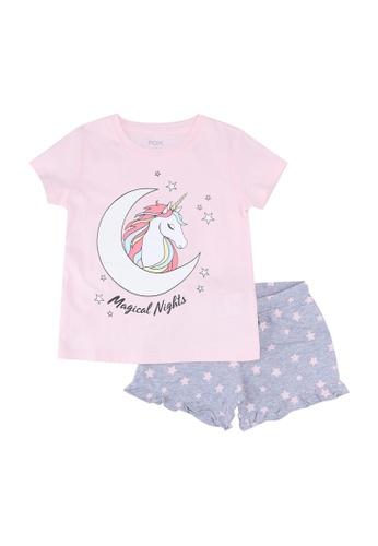 FOX Kids & Baby pink Pink and Grey Shorts Sleep Set A2E19KA1A53DA1GS_1