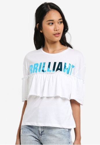 ONLY white Brilliant Short Sleeve Frill Top 67A8EAA5C26882GS_1